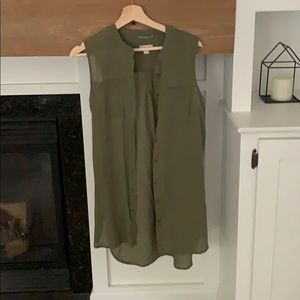Army green tank button up